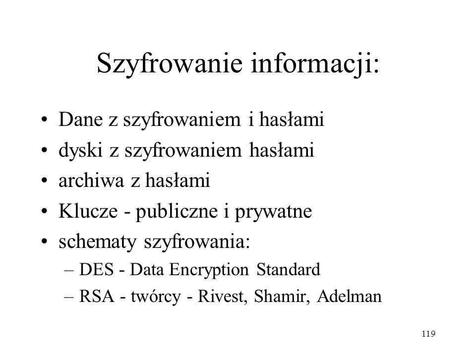 119 Szyfrowanie informacji: Dane z szyfrowaniem i hasłami dyski z szyfrowaniem hasłami archiwa z hasłami Klucze - publiczne i prywatne schematy szyfro