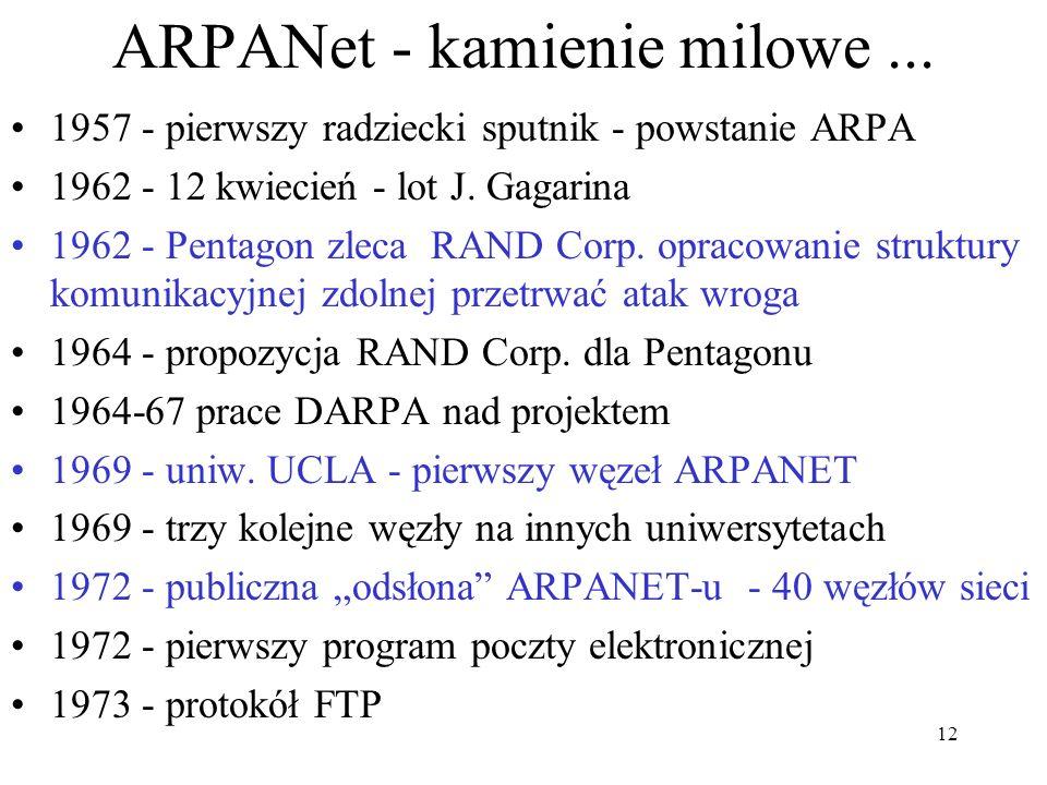 12 ARPANet - kamienie milowe... 1957 - pierwszy radziecki sputnik - powstanie ARPA 1962 - 12 kwiecień - lot J. Gagarina 1962 - Pentagon zleca RAND Cor