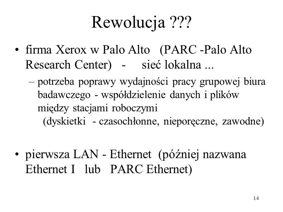 14 Rewolucja ??? firma Xerox w Palo Alto (PARC -Palo Alto Research Center) - sieć lokalna... –potrzeba poprawy wydajności pracy grupowej biura badawcz