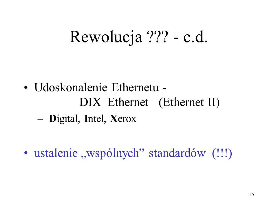 15 Rewolucja ??? - c.d. Udoskonalenie Ethernetu - DIX Ethernet (Ethernet II) – Digital, Intel, Xerox ustalenie wspólnych standardów (!!!)