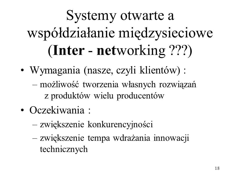18 Systemy otwarte a współdziałanie międzysieciowe (Inter - networking ???) Wymagania (nasze, czyli klientów) : –możliwość tworzenia własnych rozwiąza