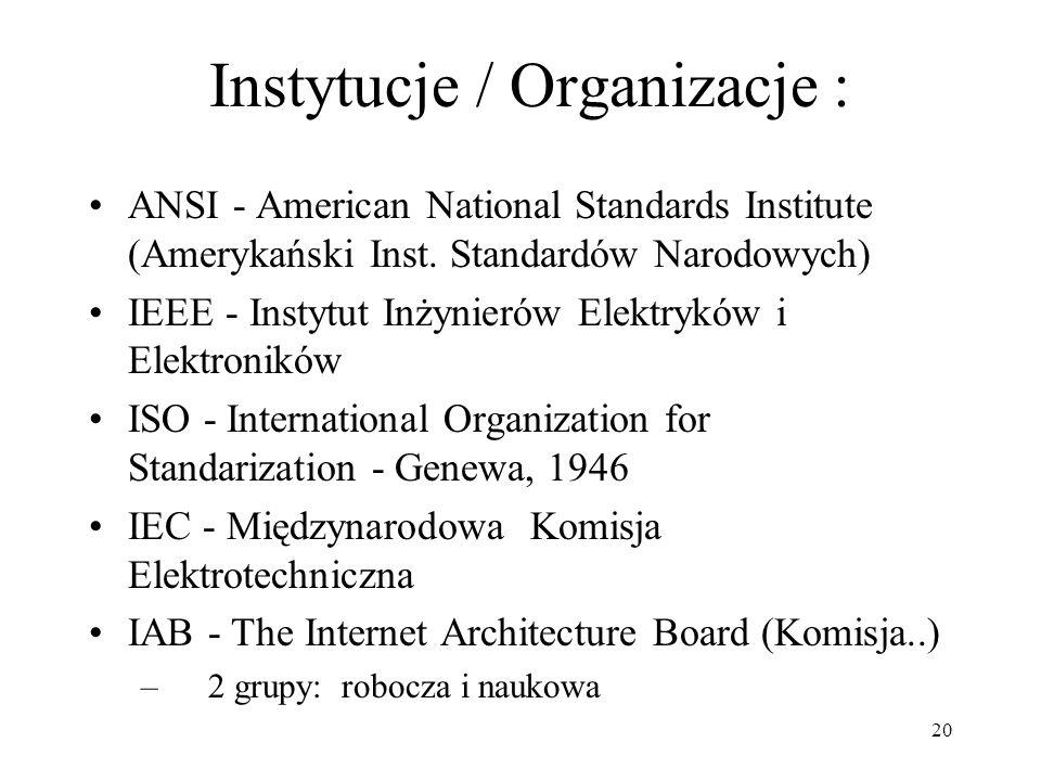 20 Instytucje / Organizacje : ANSI - American National Standards Institute (Amerykański Inst. Standardów Narodowych) IEEE - Instytut Inżynierów Elektr