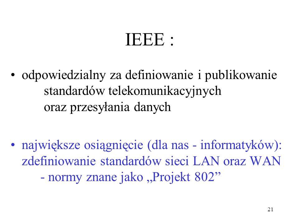 21 IEEE : odpowiedzialny za definiowanie i publikowanie standardów telekomunikacyjnych oraz przesyłania danych największe osiągnięcie (dla nas - infor