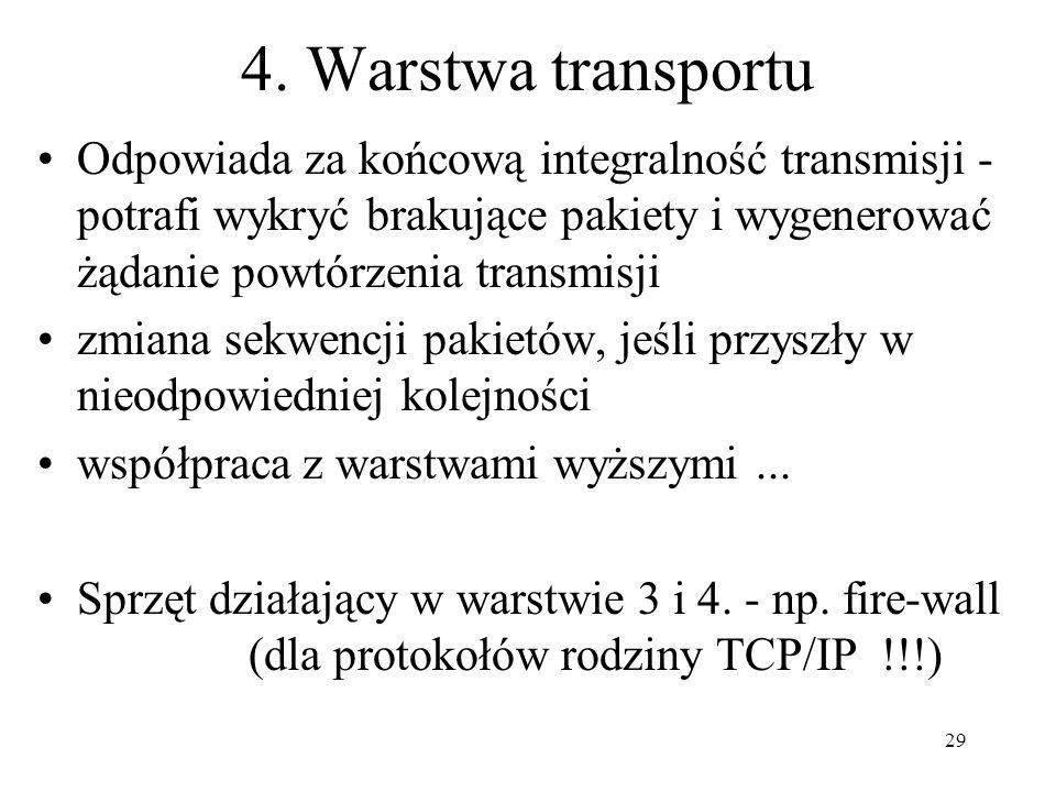 29 4. Warstwa transportu Odpowiada za końcową integralność transmisji - potrafi wykryć brakujące pakiety i wygenerować żądanie powtórzenia transmisji
