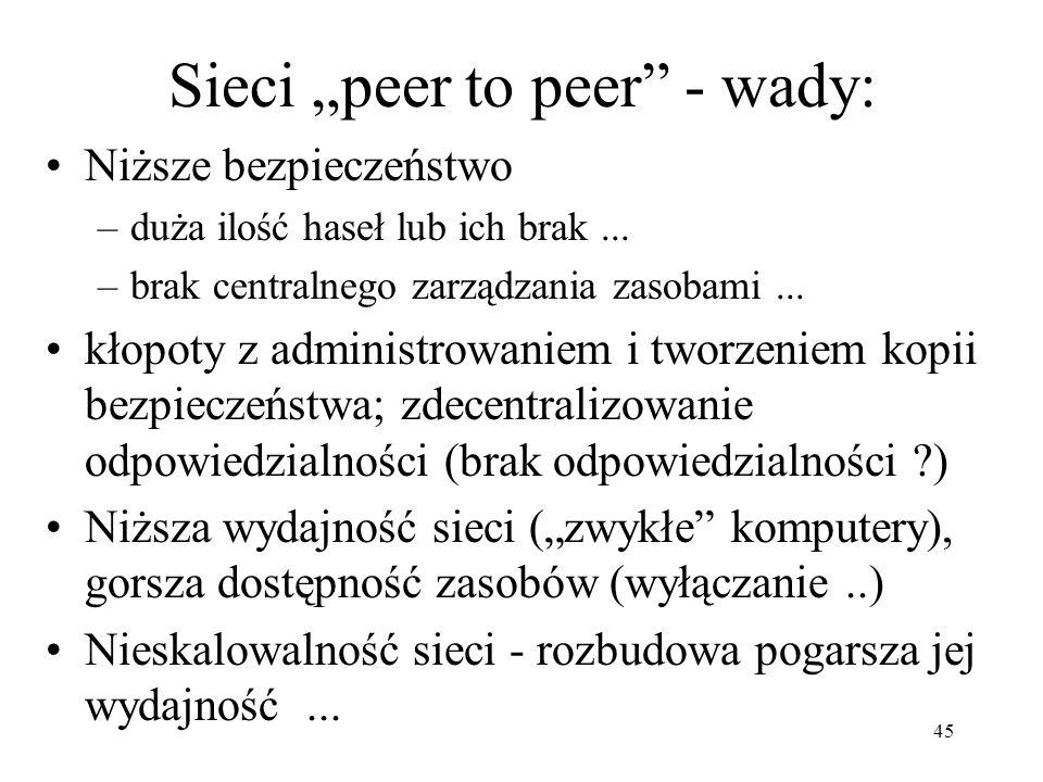 45 Sieci peer to peer - wady: Niższe bezpieczeństwo –duża ilość haseł lub ich brak... –brak centralnego zarządzania zasobami... kłopoty z administrowa