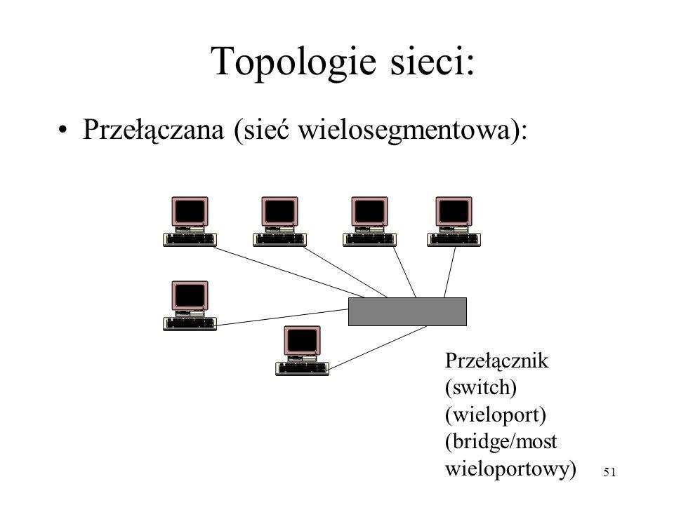 51 Topologie sieci: Przełączana (sieć wielosegmentowa): Przełącznik (switch) (wieloport) (bridge/most wieloportowy)
