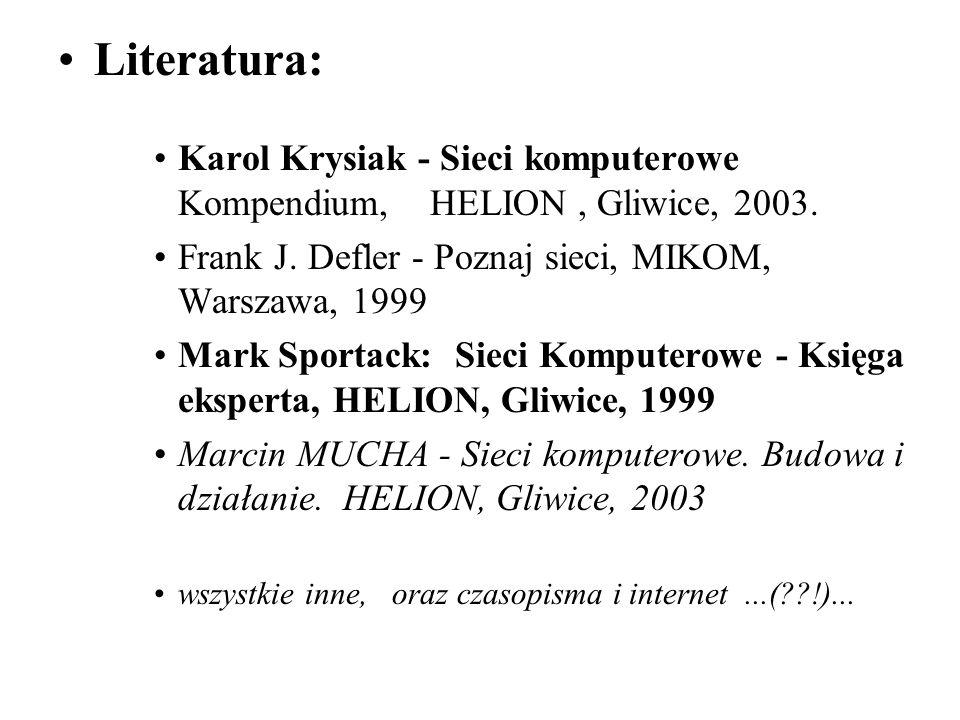 Literatura: Karol Krysiak - Sieci komputerowe Kompendium, HELION, Gliwice, 2003. Frank J. Defler - Poznaj sieci, MIKOM, Warszawa, 1999 Mark Sportack: