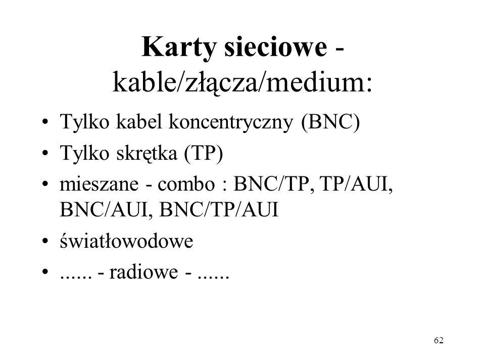 62 Karty sieciowe - kable/złącza/medium: Tylko kabel koncentryczny (BNC) Tylko skrętka (TP) mieszane - combo : BNC/TP, TP/AUI, BNC/AUI, BNC/TP/AUI świ