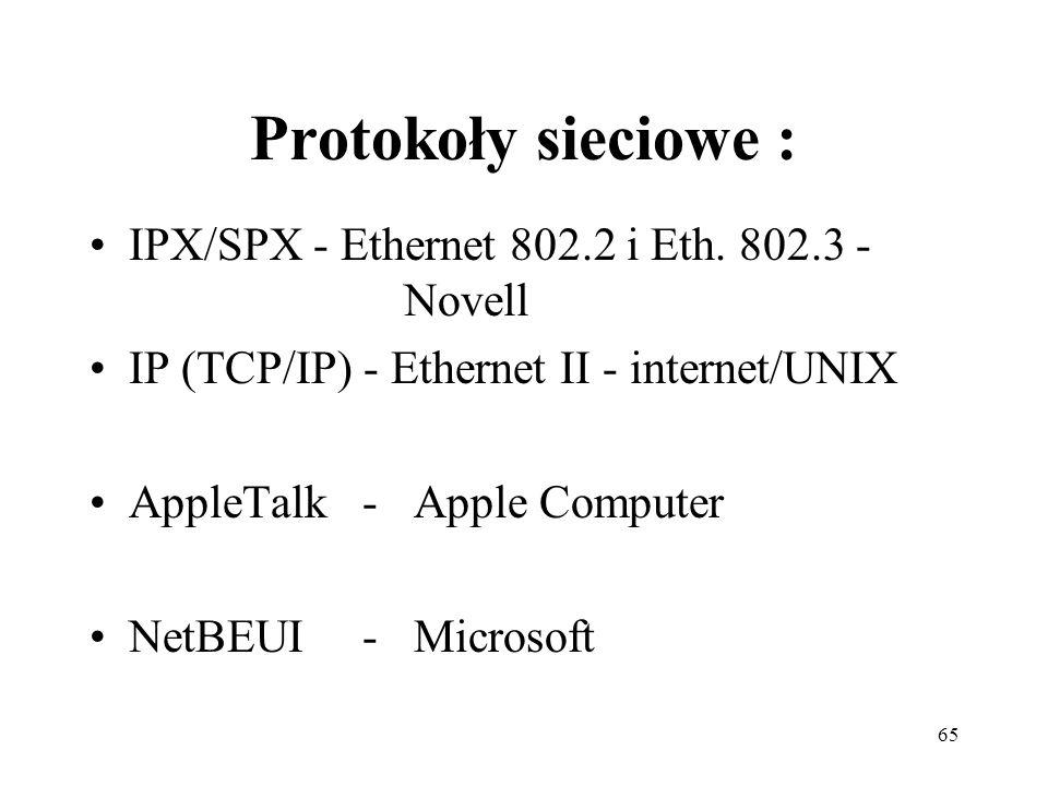 65 Protokoły sieciowe : IPX/SPX - Ethernet 802.2 i Eth. 802.3 - Novell IP (TCP/IP) - Ethernet II - internet/UNIX AppleTalk - Apple Computer NetBEUI -