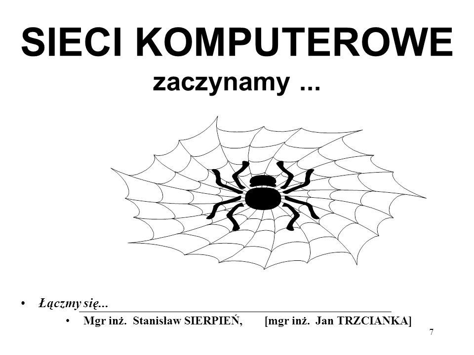 38 Sieci LAN - budowa : Sieć 1-segmentowa Dwa komputery bez koncentratora Magistrala Sieć z koncentratorem Gwiazda