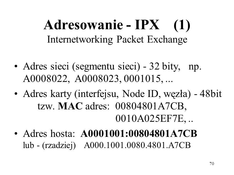 70 Adresowanie - IPX (1) Internetworking Packet Exchange Adres sieci (segmentu sieci) - 32 bity, np. A0008022, A0008023, 0001015,... Adres karty (inte