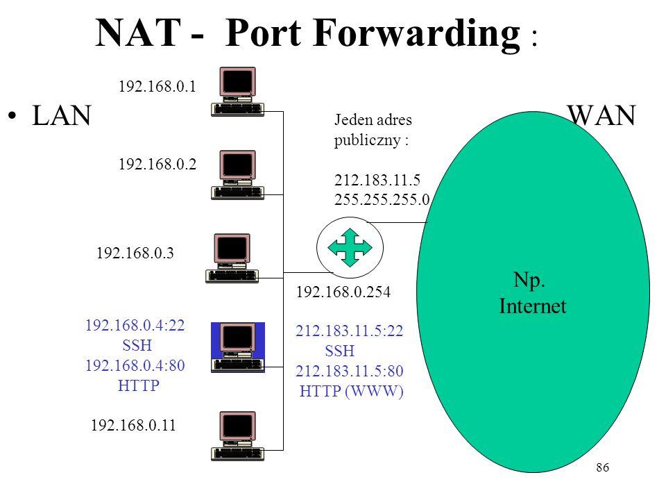 86 NAT - Port Forwarding : LAN WAN Np. Internet Jeden adres publiczny : 212.183.11.5 255.255.255.0 192.168.0.1 192.168.0.2 192.168.0.3 192.168.0.4:22