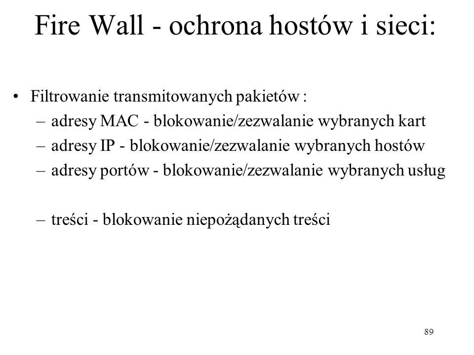 89 Fire Wall - ochrona hostów i sieci: Filtrowanie transmitowanych pakietów : –adresy MAC - blokowanie/zezwalanie wybranych kart –adresy IP - blokowan