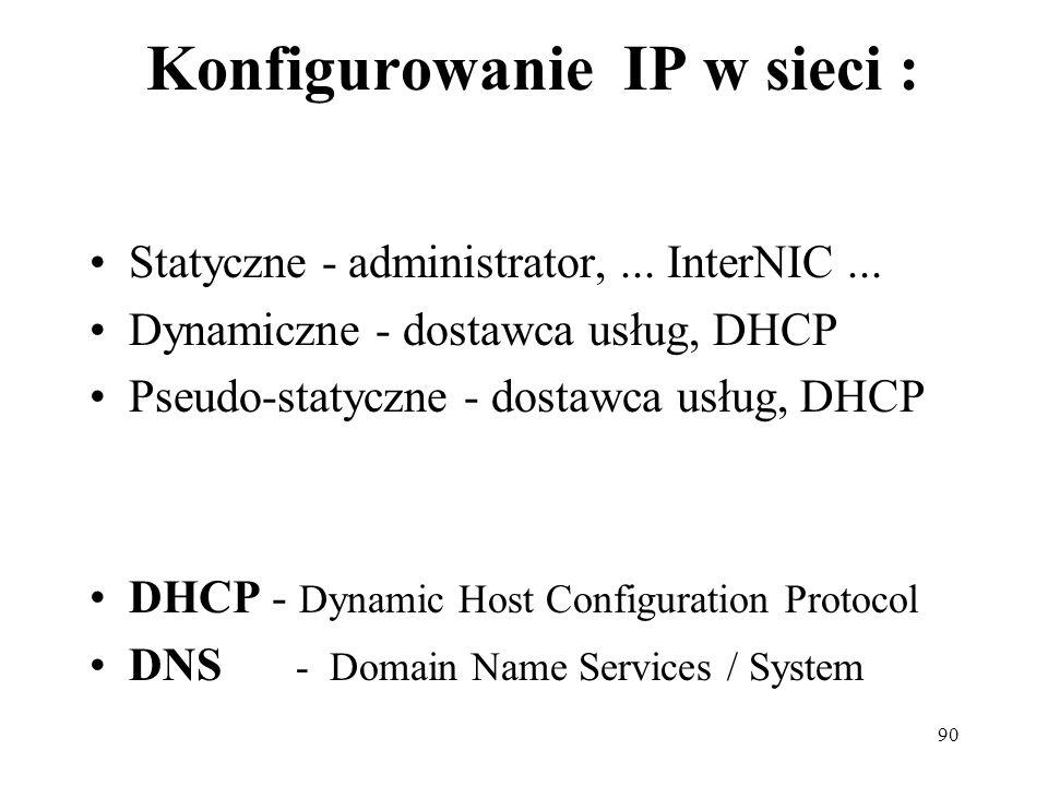 90 Konfigurowanie IP w sieci : Statyczne - administrator,... InterNIC... Dynamiczne - dostawca usług, DHCP Pseudo-statyczne - dostawca usług, DHCP DHC