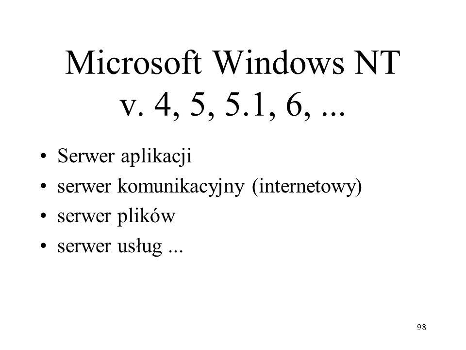 98 Microsoft Windows NT v. 4, 5, 5.1, 6,... Serwer aplikacji serwer komunikacyjny (internetowy) serwer plików serwer usług...