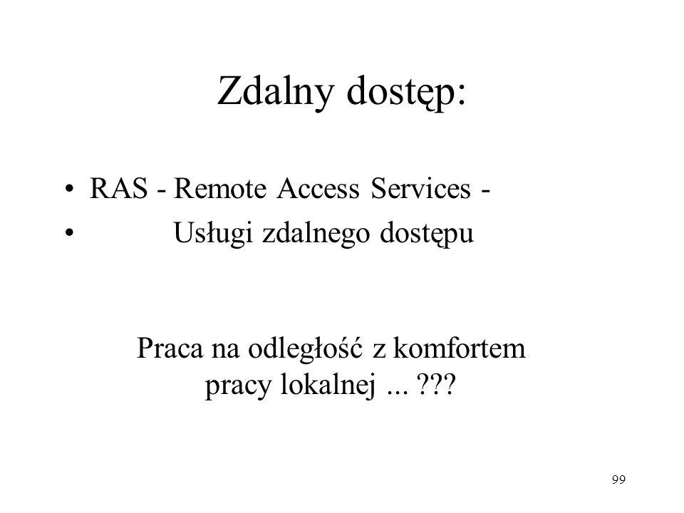 99 Zdalny dostęp: RAS - Remote Access Services - Usługi zdalnego dostępu Praca na odległość z komfortem pracy lokalnej... ???