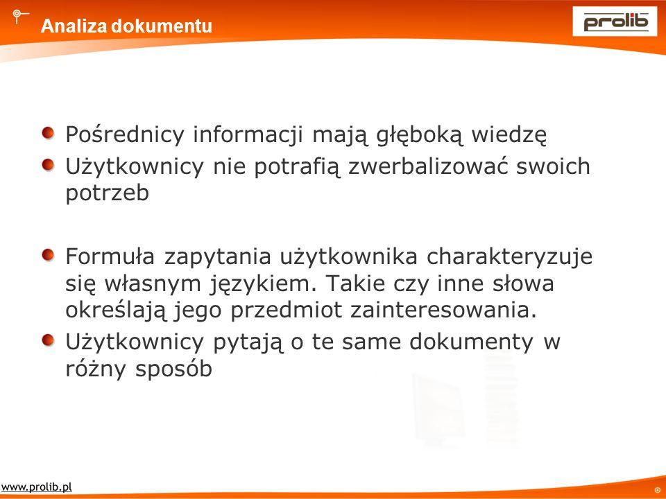 Analiza dokumentu Pośrednicy informacji mają głęboką wiedzę Użytkownicy nie potrafią zwerbalizować swoich potrzeb Formuła zapytania użytkownika charakteryzuje się własnym językiem.