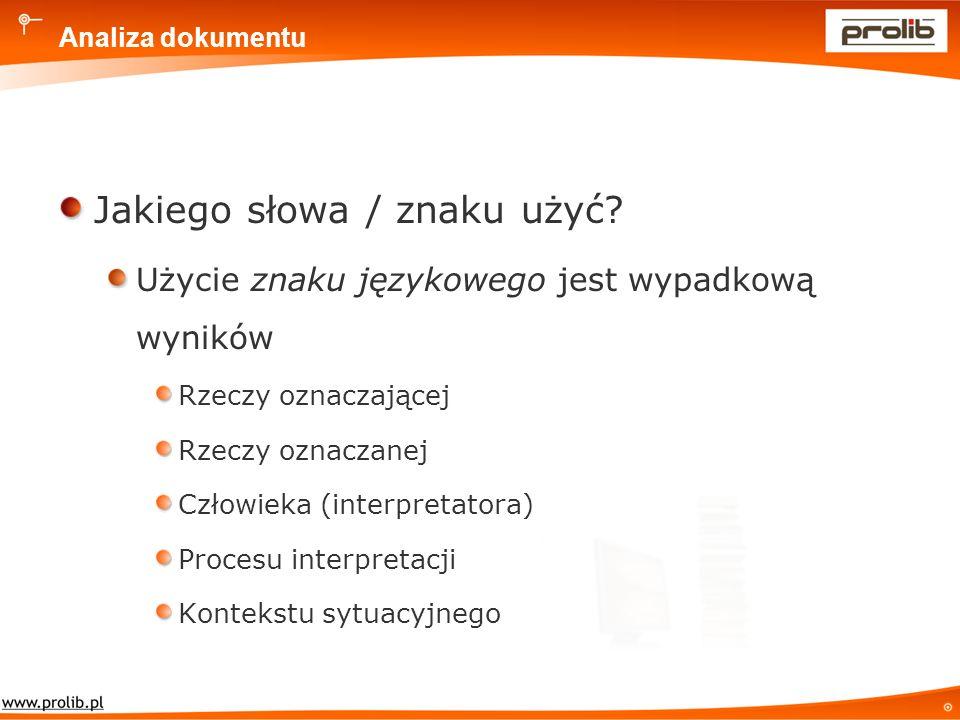 Analiza dokumentu Jakiego słowa / znaku użyć.