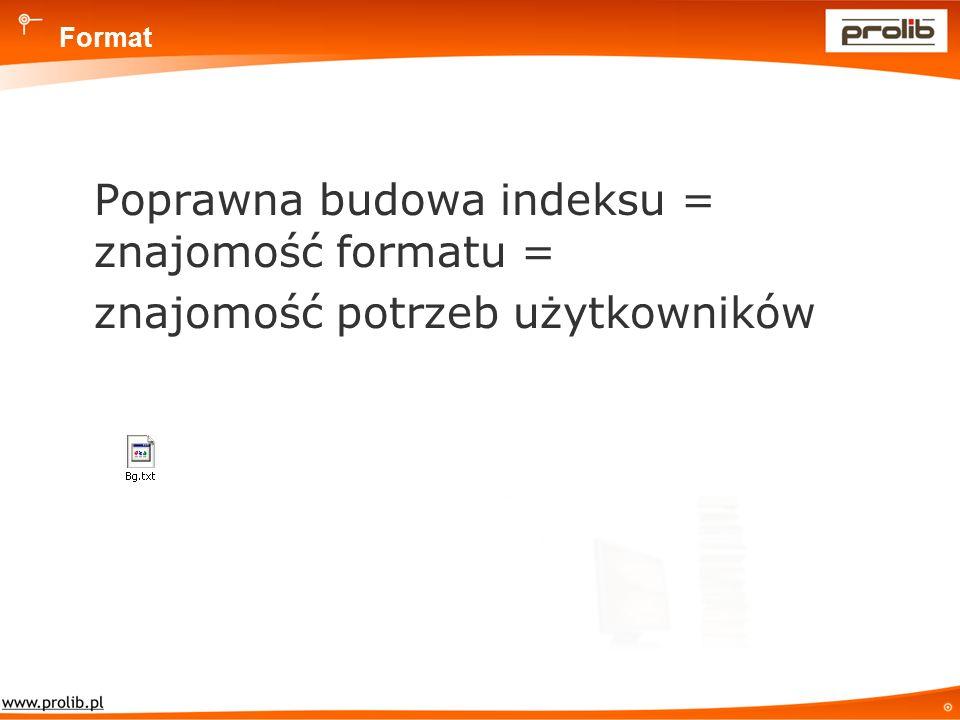 Format Poprawna budowa indeksu = znajomość formatu = znajomość potrzeb użytkowników