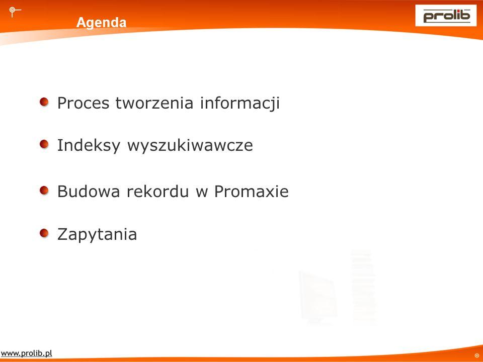 Agenda Proces tworzenia informacji Indeksy wyszukiwawcze Budowa rekordu w Promaxie Zapytania