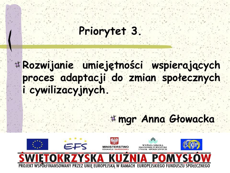 Priorytet 3. Rozwijanie umiejętności wspierających proces adaptacji do zmian społecznych i cywilizacyjnych. mgr Anna Głowacka