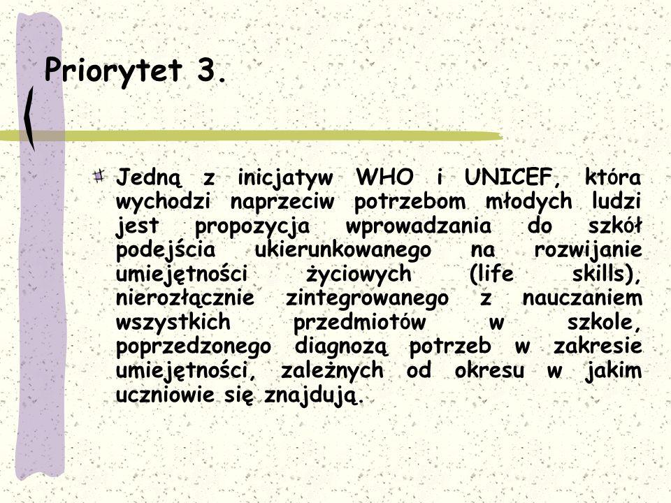 Priorytet 3. Jedną z inicjatyw WHO i UNICEF, kt ó ra wychodzi naprzeciw potrzebom młodych ludzi jest propozycja wprowadzania do szk ó ł podejścia ukie