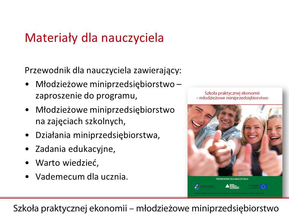 Materiały dla nauczyciela Przewodnik dla nauczyciela zawierający: Młodzieżowe miniprzedsiębiorstwo – zaproszenie do programu, Młodzieżowe miniprzedsię