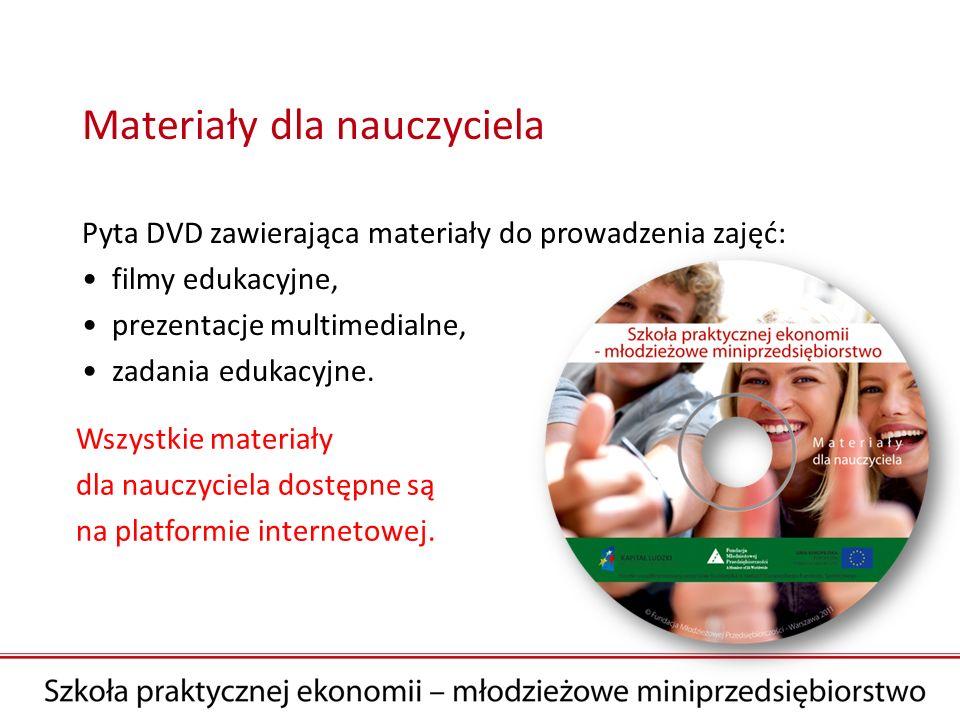 Materiały dla nauczyciela Pyta DVD zawierająca materiały do prowadzenia zajęć: filmy edukacyjne, prezentacje multimedialne, zadania edukacyjne. Wszyst