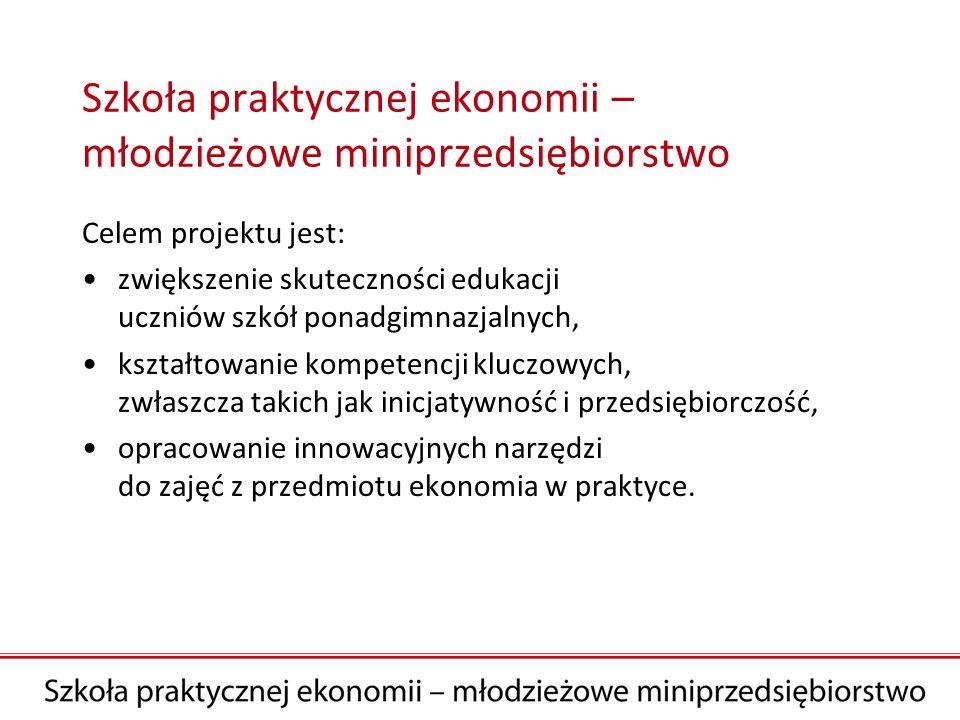 Adresaci projektu Użytkownicy projektu: nauczyciele podstaw przedsiębiorczości oraz przedmiotów ekonomicznych.