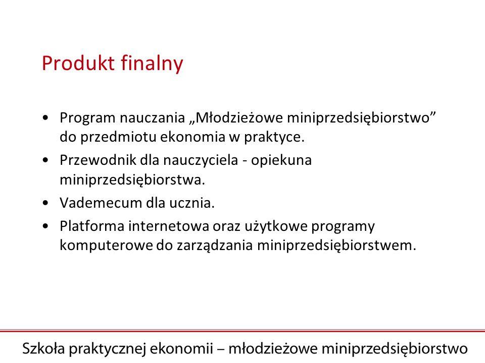 Produkt finalny Program nauczania Młodzieżowe miniprzedsiębiorstwo do przedmiotu ekonomia w praktyce. Przewodnik dla nauczyciela - opiekuna miniprzeds