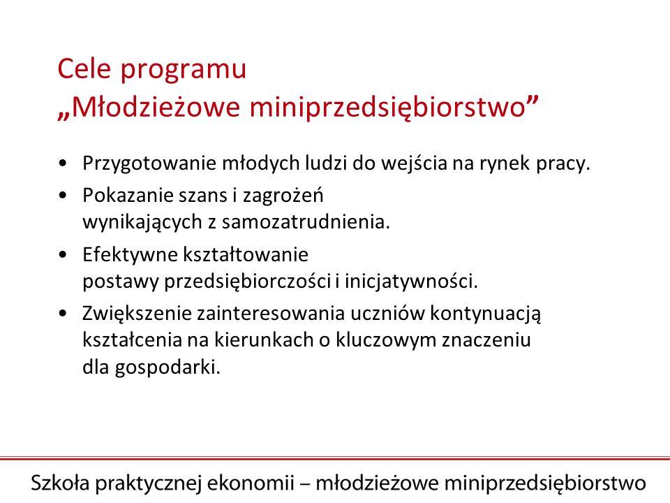 Cele programuMłodzieżowe miniprzedsiębiorstwo Przygotowanie młodych ludzi do wejścia na rynek pracy. Pokazanie szans i zagrożeń wynikających z samozat