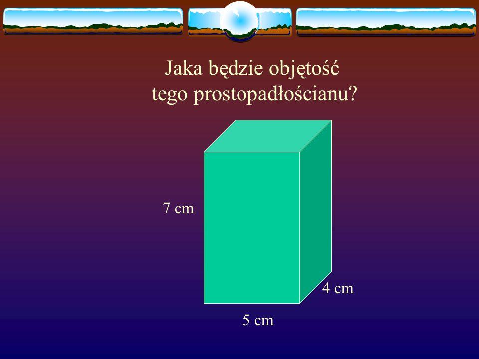 Objętość prostopadłościanu jest równa iloczynowi długości jego krawędzi. V = a b c DŁUGOŚĆ SZEROKOŚĆ WYSOKOŚĆWYSOKOŚĆ b a c OBJĘTOŚĆ PROSTOPADŁOŚCIANU
