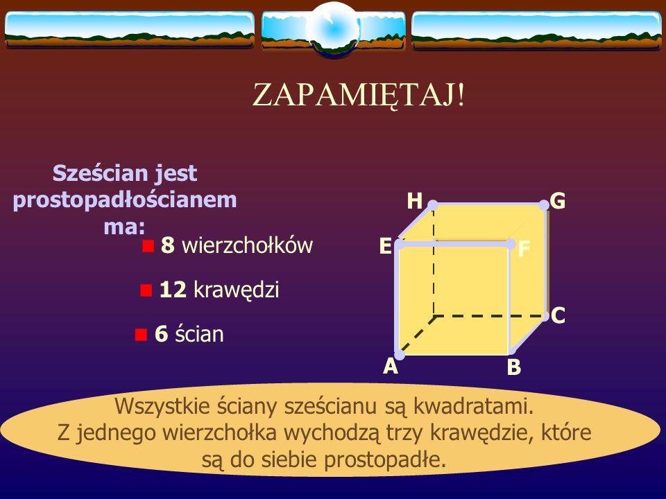 Wymiary prostopadłościanu Z jednego wierzchołka wychodzą trzy krawędzie. Są to wymiary prostopadłościanu: długość, szerokość i wysokość. długość szero