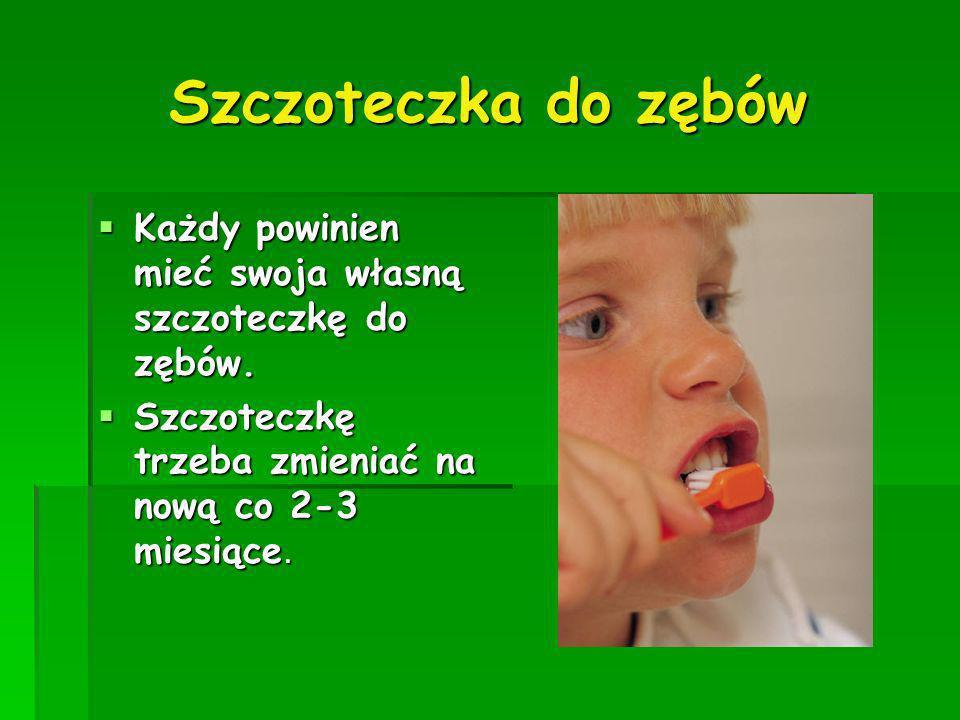 Szczoteczka do zębów Każdy powinien mieć swoja własną szczoteczkę do zębów. Każdy powinien mieć swoja własną szczoteczkę do zębów. Szczoteczkę trzeba