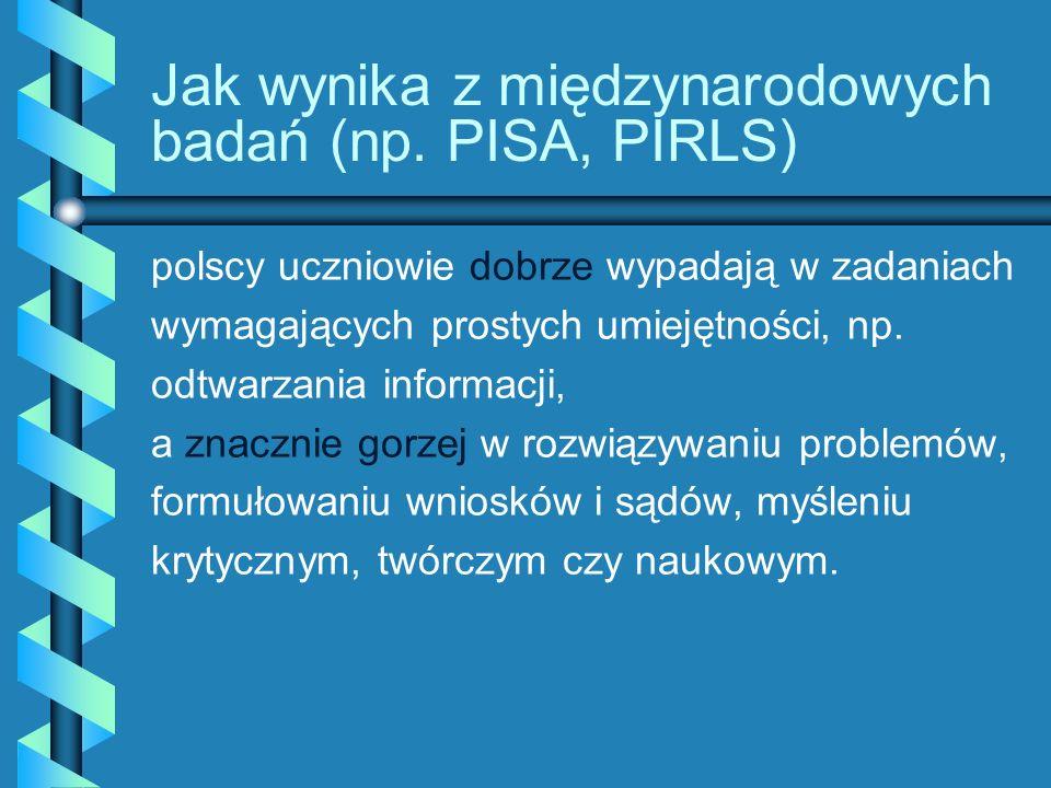 Jak wynika z międzynarodowych badań (np. PISA, PIRLS) polscy uczniowie dobrze wypadają w zadaniach wymagających prostych umiejętności, np. odtwarzania