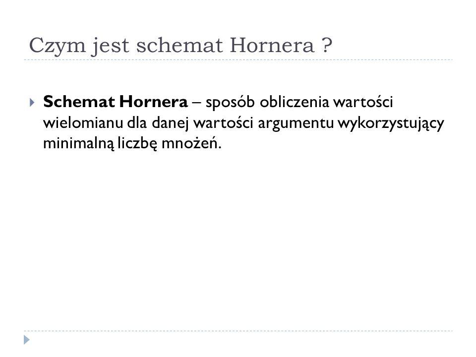 Czym jest schemat Hornera ? Schemat Hornera – sposób obliczenia wartości wielomianu dla danej wartości argumentu wykorzystujący minimalną liczbę mnoże