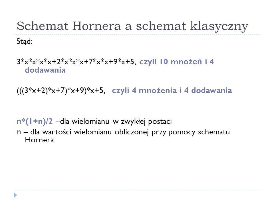 Schemat Hornera a schemat klasyczny Stąd: 3*x*x*x*x+2*x*x*x+7*x*x+9*x+5, czyli 10 mnożeń i 4 dodawania (((3*x+2)*x+7)*x+9)*x+5, czyli 4 mnożenia i 4 dodawania n*(1+n)/2 –dla wielomianu w zwykłej postaci n – dla wartości wielomianu obliczonej przy pomocy schematu Hornera