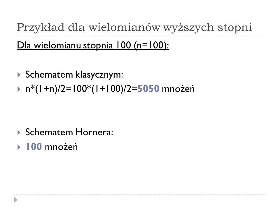 Przykład dla wielomianów wyższych stopni Dla wielomianu stopnia 100 (n=100): Schematem klasycznym: n*(1+n)/2=100*(1+100)/2=5050 mnożeń Schematem Horne