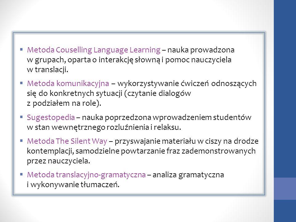 Metoda Couselling Language Learning – nauka prowadzona w grupach, oparta o interakcję słowną i pomoc nauczyciela w translacji. Metoda komunikacyjna –