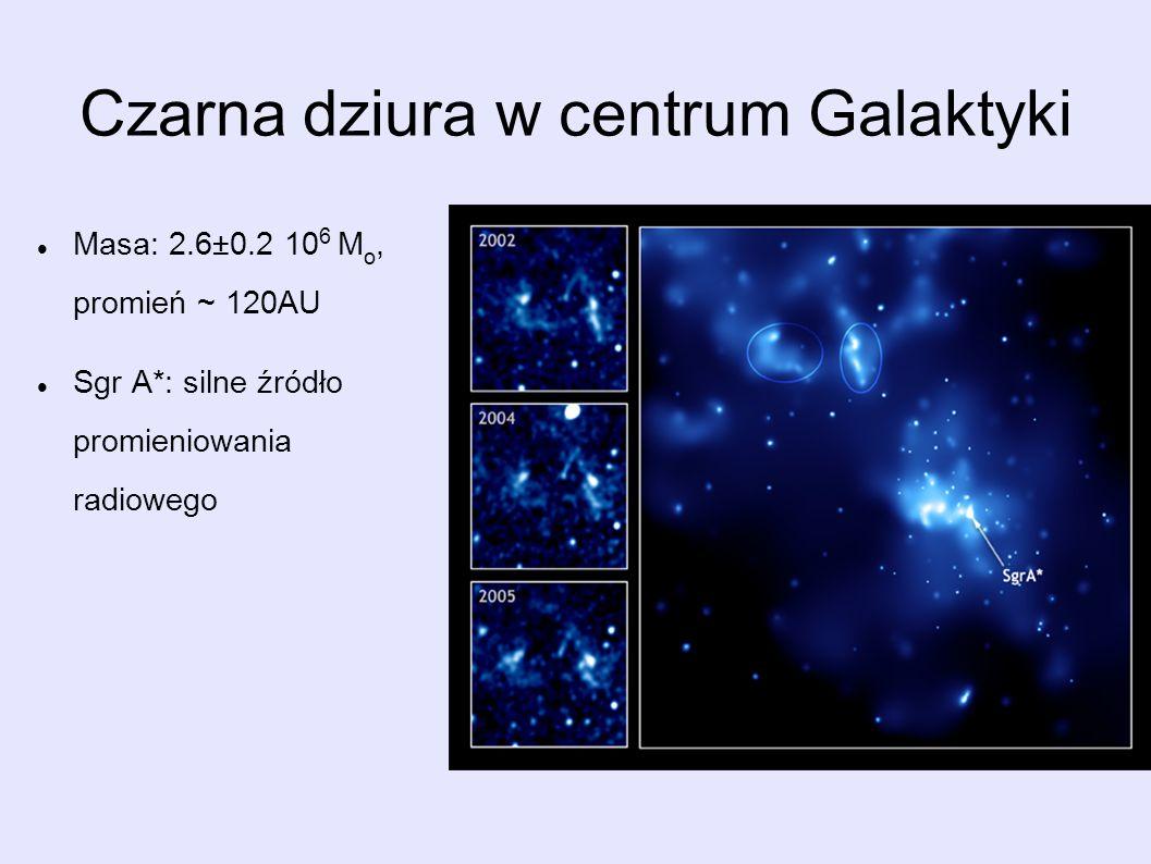 Czarna dziura w centrum Galaktyki Masa: 2.6±0.2 10 6 M o, promień ~ 120AU Sgr A*: silne źródło promieniowania radiowego