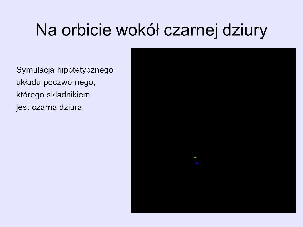 Na orbicie wokół czarnej dziury Symulacja hipotetycznego układu poczwórnego, którego składnikiem jest czarna dziura