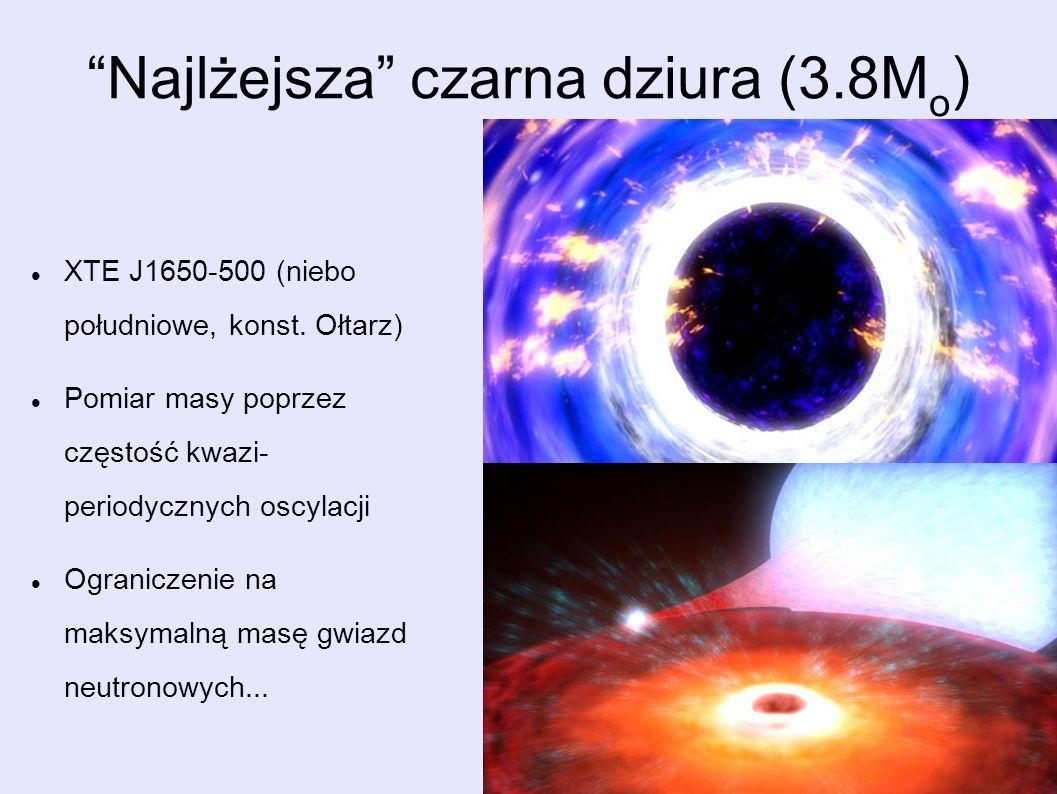 Najlżejsza czarna dziura (3.8M o ) XTE J1650-500 (niebo południowe, konst. Ołtarz) Pomiar masy poprzez częstość kwazi- periodycznych oscylacji Ogranic