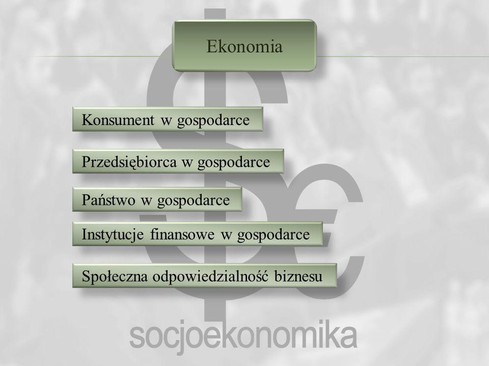 Ekonomia Konsument w gospodarce Przedsiębiorca w gospodarce Państwo w gospodarce Instytucje finansowe w gospodarce Społeczna odpowiedzialność biznesu