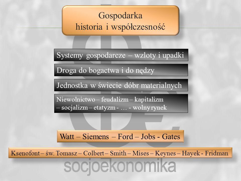 Gospodarka historia i współczesność Systemy gospodarcze – wzloty i upadki Jednostka w świecie dóbr materialnych Niewolnictwo – feudalizm – kapitalizm