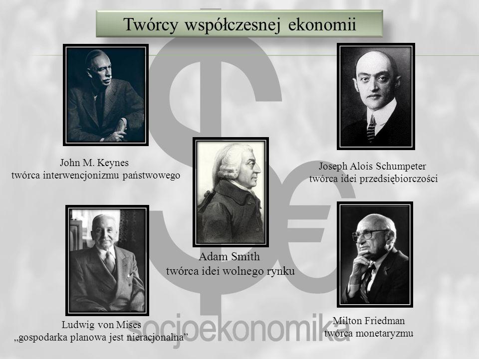 Twórcy współczesnej ekonomii Adam Smith twórca idei wolnego rynku John M. Keynes twórca interwencjonizmu państwowego Ludwig von Mises gospodarka plano