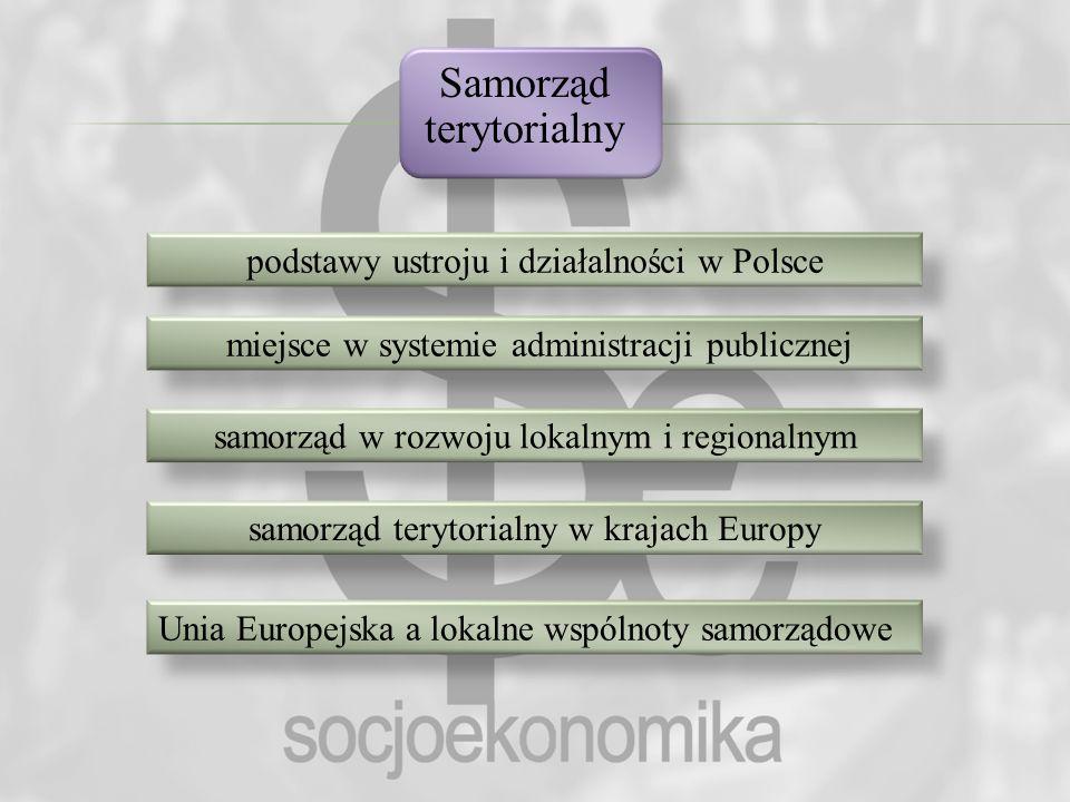 Samorząd terytorialny podstawy ustroju i działalności w Polsce miejsce w systemie administracji publicznej samorząd w rozwoju lokalnym i regionalnym s