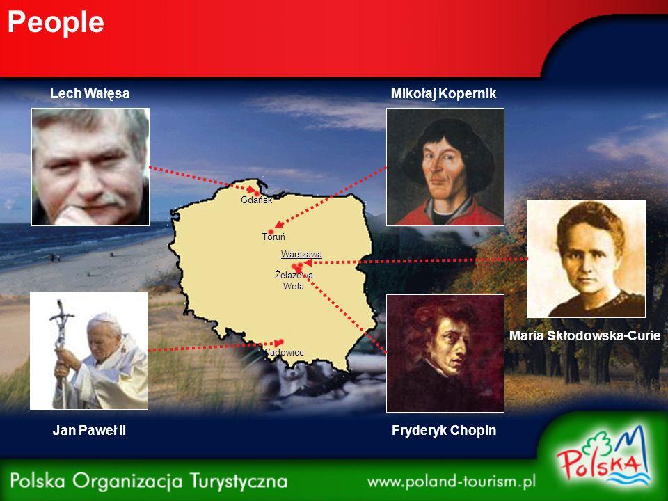People Warszawa Wadowice Żelazowa Wola Toruń Gdańsk Mikołaj Kopernik Fryderyk Chopin Maria Skłodowska-Curie Jan Paweł II Lech Wałęsa