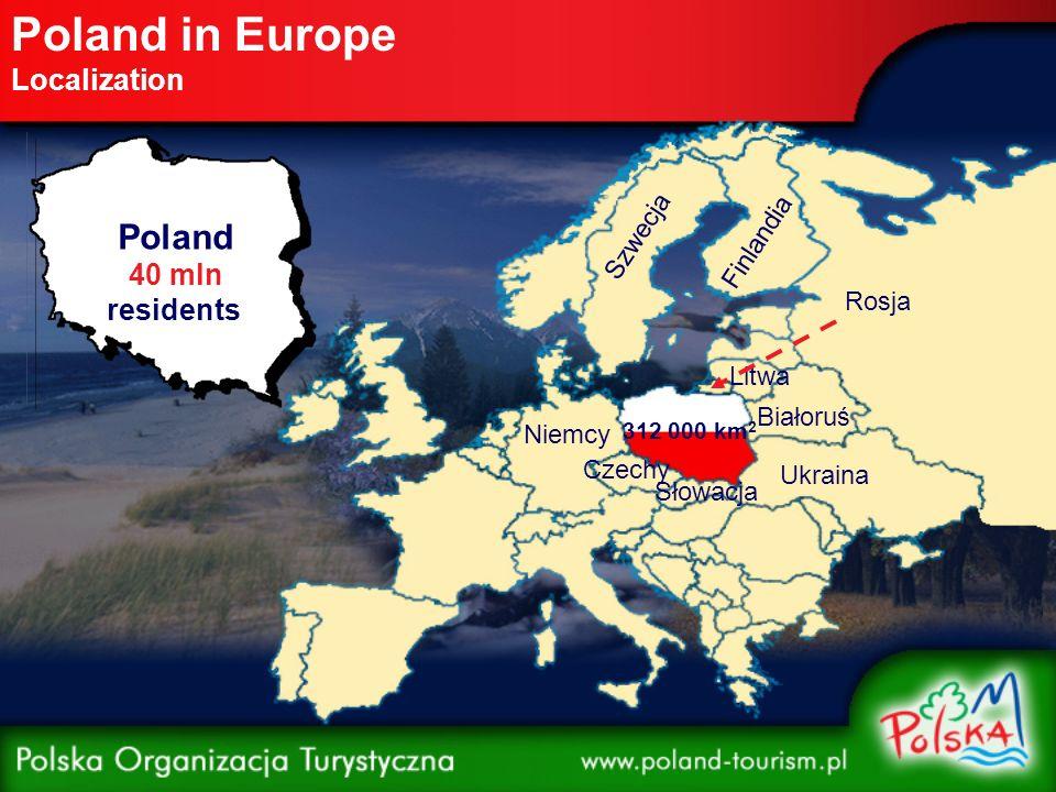 Poland in Europe Localization Poland 40 mln residents 312 000 km 2 Litwa Białoruś Ukraina Rosja Słowacja Czechy Niemcy Szwecja Finlandia