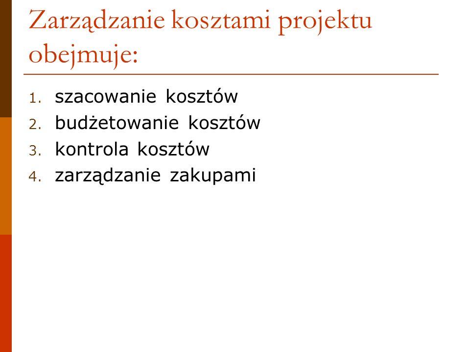 Zarządzanie kosztami projektu obejmuje: 1. szacowanie kosztów 2. budżetowanie kosztów 3. kontrola kosztów 4. zarządzanie zakupami