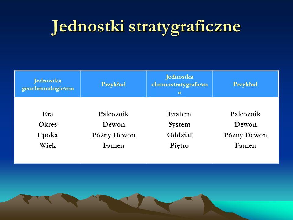 Jednostki stratygraficzne Jednostka geochronologiczna Przykład Jednostka chronostratygraficzn a Przykład Era Okres Epoka Wiek Paleozoik Dewon Późny Dewon Famen Eratem System Oddział Piętro Paleozoik Dewon Późny Dewon Famen